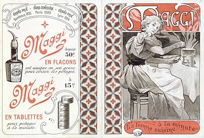 Tablet Painting - Advertisement For Maggi, Late 19th Century Colour Litho by Alphonse Marie Mucha