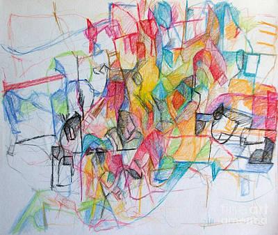 Creativity Drawing - Tzadik 14 by David Baruch Wolk