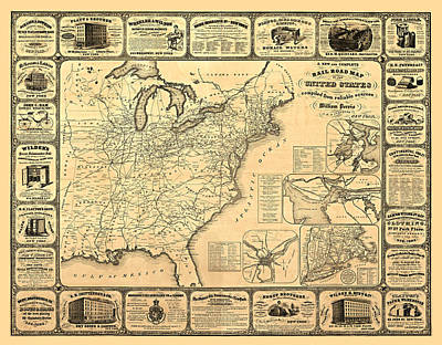 Antique Map Digital Art - Advertising Map by Gary Grayson