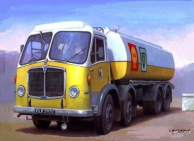 Tanker Wall Art - Painting - Aec Fuel Tanker. by Mike Jeffries