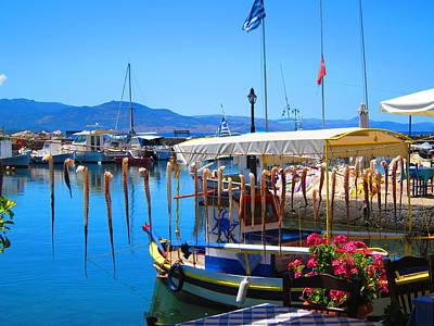 Deep Blue Photograph - Aegean Harbor Idyll by Andreas Thust