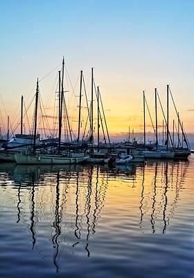 Aegina Photograph - Aegina Harbour Sunset by Paul Cowan