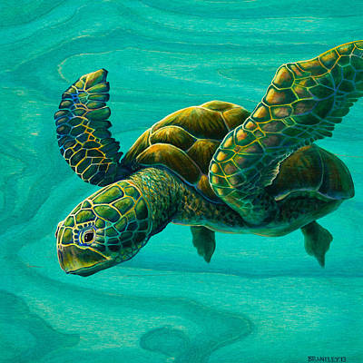 Family Love Painting - Aeko Sea Turtle by Emily Brantley