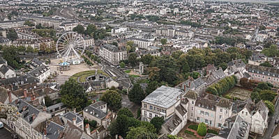 Chartres Photograph - Aerial Chartres by Olivier Le Queinec