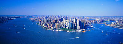 New York Harbor Photograph - Aerial Lower Manhattan New York City Ny by Panoramic Images