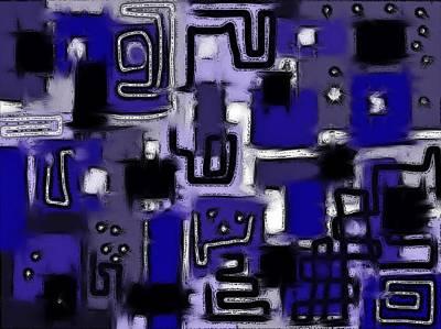Digital Art - Aerial Neighbourhood Abstract In Blue by Barbara St Jean