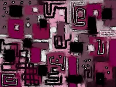 Digital Art - Aerial Neighbourhood Abstract In Pink by Barbara St Jean