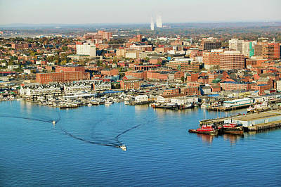 Aerial Of Downtown Portland Harbor Art Print
