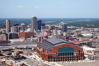 Indiana Scenes Photograph - Aerial Of Indianapolis Indiana by Bill Cobb