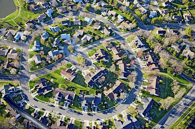 Front Steps Photograph - Aerial Pattern Of Residential Homes by Panoramic Images