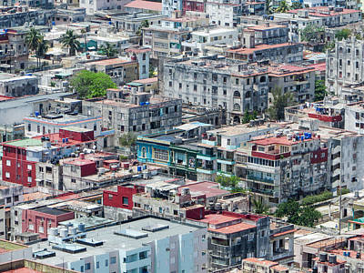 Photograph - Aerial Perspective Of A Neighbourhood In Havana Cuba. by Rob Huntley