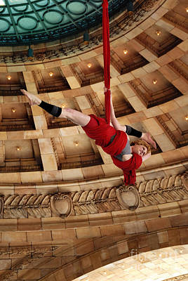 Aerial Ribbon Performer At Pennsylvanian Grand Rotunda Print by Amy Cicconi
