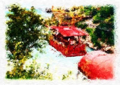 Digital Art - Aerial Ropeway Crossing Niagara Falls Impressionist Digital Painting by Asbjorn Lonvig
