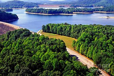 Aerial Summersville Dam And Lake Art Print