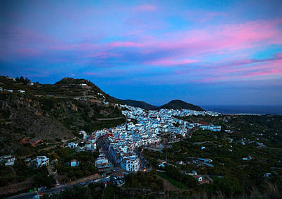 Aerial Sunset View Of Frigiliana, Costa Art Print by Panoramic Images