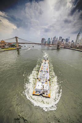 Aerial View - The Barge At The East River Art Print