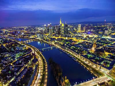 Aerial View. Germany, Frankfurt, River Art Print by Malorny