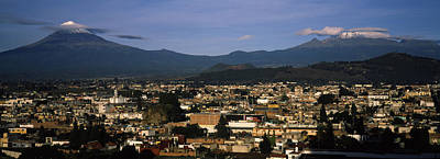 Aerial View Of A City A With Mountain Art Print by Panoramic Images