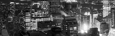 Aerial View Of A City At Night, Midtown Art Print by Panoramic Images