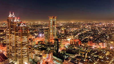 Aerial View Of A City At Night Art Print by Panoramic Images