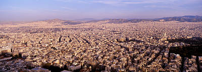 Crowd Scene Photograph - Aerial View Of A City, Athens, Greece by Panoramic Images