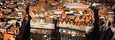 Belgium Photograph - Aerial View Of A City, Bruges, West by Panoramic Images