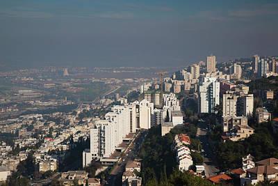 Aerial View Of A City, Haifa, North Art Print