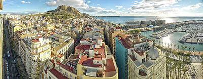 Alicante Photograph - Aerial View Of A City, Old Town, Santa by Panoramic Images