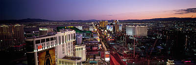 Sunset Strip Wall Art - Photograph - Aerial View Of A City, Paris Las Vegas by Panoramic Images