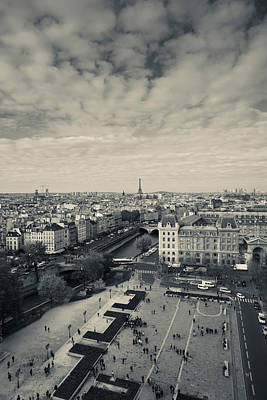 Aerial View Of A City Viewed From Notre Art Print by Panoramic Images