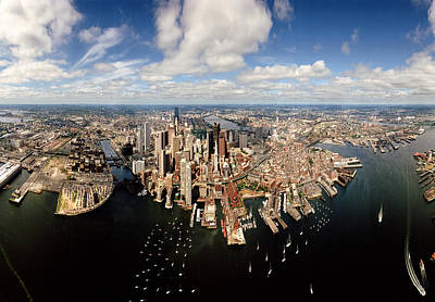 Urban Scenes Photograph - Aerial View Of A Cityscape, Boston by Panoramic Images