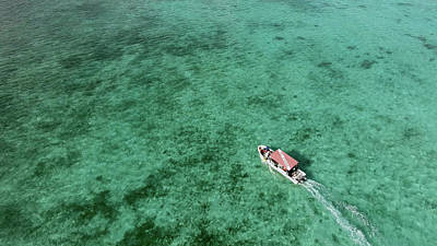 Photograph - Aerial View Of A Diving Boat In Yap by Andreas Schumacher