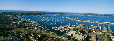 Narragansett Photograph - Aerial View Of A Harbor, Newport by Panoramic Images