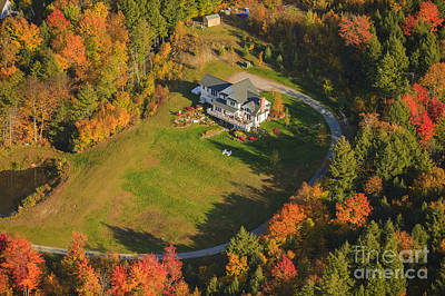 Photograph - Aerial View Of A Private Residence In Vermont Usa by Don Landwehrle