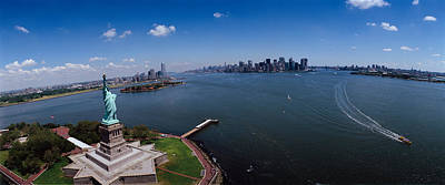 Statue Of Liberty Photograph - Aerial View Of A Statue, Statue by Panoramic Images