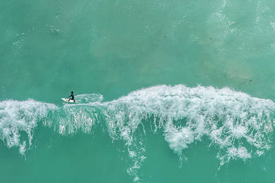 Photograph - Aerial View Of A Surfer, Western Cape by Peter Chadwick