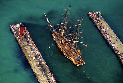 Aerial View Of A Tall Ship Art Print