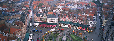Aerial View Of A Town Square, Bruges Art Print by Panoramic Images