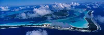 Boras Photograph - Aerial View Of An Island, Bora Bora by Panoramic Images