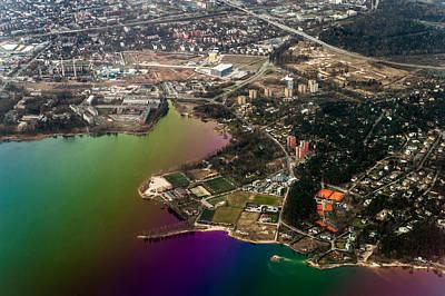 Aerial View Of Bay. Rainbow Earth Art Print