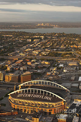 Photograph - Aerial View Of Bellevue Skyline And Century Link  by Jim Corwin