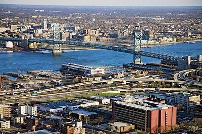 Aerial View Of Ben Franklin Bridge Art Print
