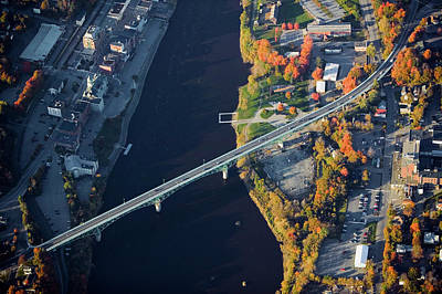Aerial View Of Bridge To Augusta, Maine Art Print
