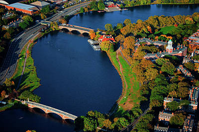 Harvard Wall Art - Photograph - Aerial View Of Charles River With Views by Panoramic Images