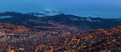 Paz Photograph - Aerial View Of City At Night, El Alto by Panoramic Images
