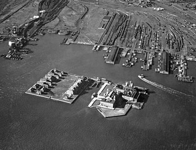 Aerial View Of Ellis Island Art Print by Underwood Archives