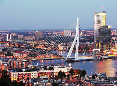 Rotterdam Photograph - Aerial View Of Erasmusbrug Erasmus by Allan Baxter
