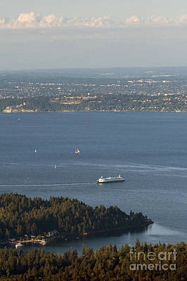 Photograph - Aerial View Of Ferry Boats On Puget Sound Leaving Bainbridge Isl by Jim Corwin