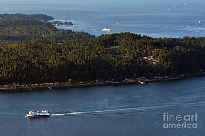 Photograph - Aerial View Of Ferry Boats On Puget Sound One Leaving Bainbridge by Jim Corwin