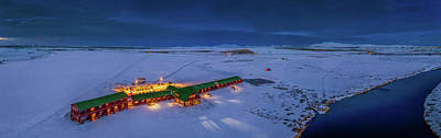 Snowy Night Photograph - Aerial View Of Hotel Ranga by Panoramic Images